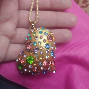 Betsey Johnson gold heart/gemstones necklace